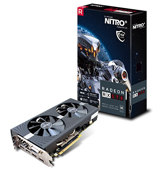 Sapphire 11266-14-20G Radeon NITRO+ RX 570 4GB GDDR5 DUAL HDMI /DVI-D /DUAL DP with backplate (UEFI) PCI-E Graphics Card