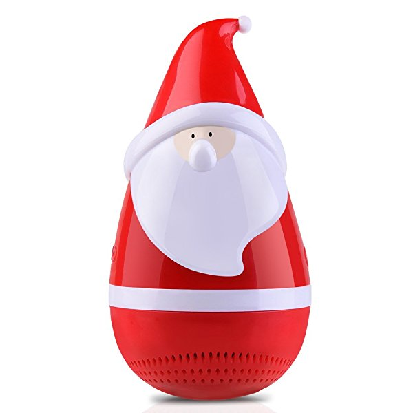 Christmas Bluetooth Speakers, Tumbler Santa Claus Gift with LED Light, Rich Bass, Portable Wireless Rechargeable Toy Speaker - Merry Christmas