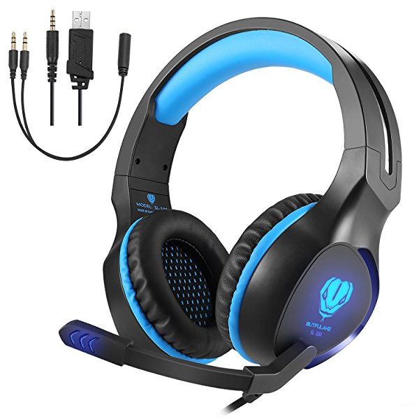 Top-spring Gaming Headset with Mic for Xbox One PS4 PC, Noise Reduction Crystal Clarity 3.5 mm Stereo Professional Game Headsets for Laptop Tablet Mac and Smart Phone (blue)