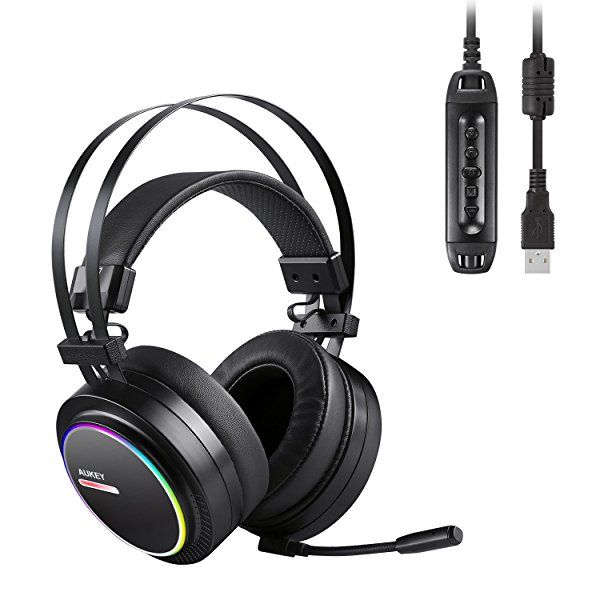 AUKEY Gaming Headset with Noise Isolating & Volume Control, USB Headset with Virtual 7.1-Channel Surround Sound and RGB Light for PC /PS4 (Black)