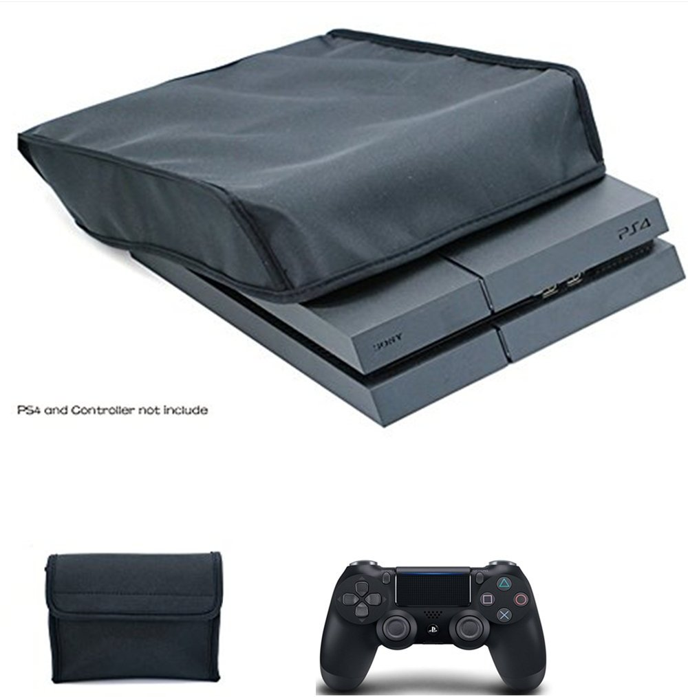 Orchidtent Playstation 4 Dust Cover Protect cover premium soft lining PS4 nylon dust guard cover with back cable port, Water-Resistant, Antistatic, Premium Fabric with FREE Controller case