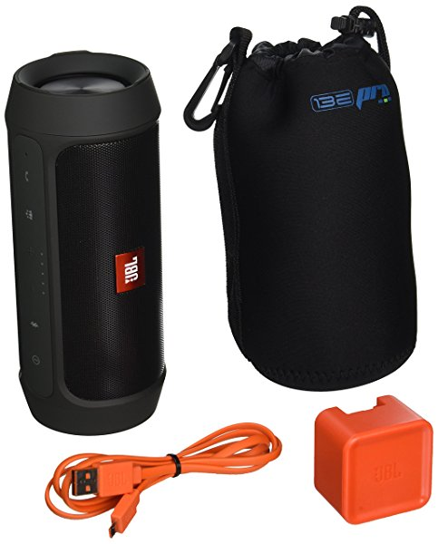 JBL Charge 2 Plus Splashproof Portable Bluetooth Speaker (Black) + I3ePro Water Resistant Carry Pouch