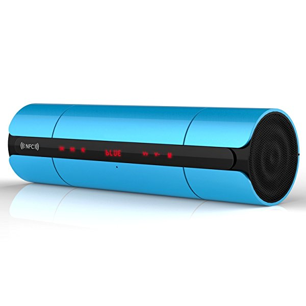 Aberobay New Arrival Multifunctional Blaster 3D Surround Sound Bluetooth NFC Speaker Portable Hands-free+3.5 Audio Input+Touch Buttons+FM Radio+TF+LED+MP3 Player-Blue
