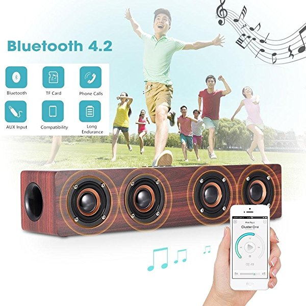 Bamwoo Story Super Bass Walnut Wood Portable Bluetooth Speaker Four Louderspeakers Subwoofer