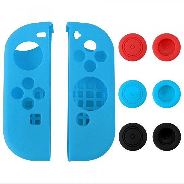 eXtremeRate Silicone Case Thumb Stick Caps Gel Guards for Nintendo Switch Joy-Con Controller Protector Protection Kits Blue