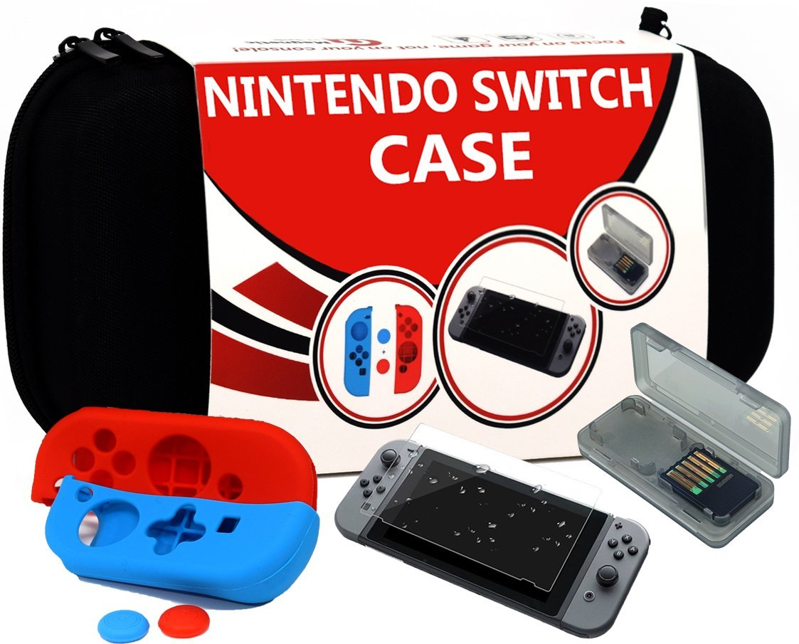 Travel Deluxe Nintendo Switch Carrying Case Accessories For Screen Protector Official Silicone Cover Joy Cons And Thumb Grips Game Card