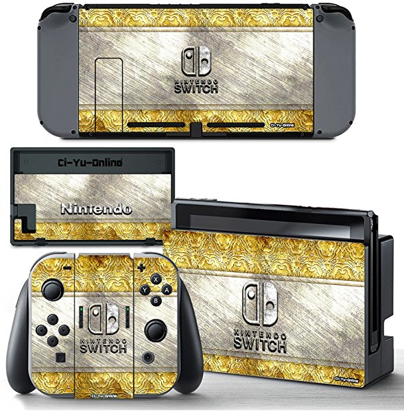 Ci-Yu-Online VINYL SKIN [NS] Classic Gold Pattern STICKER DECAL COVER for Nintendo Switch Console and Joy-Con Controllers
