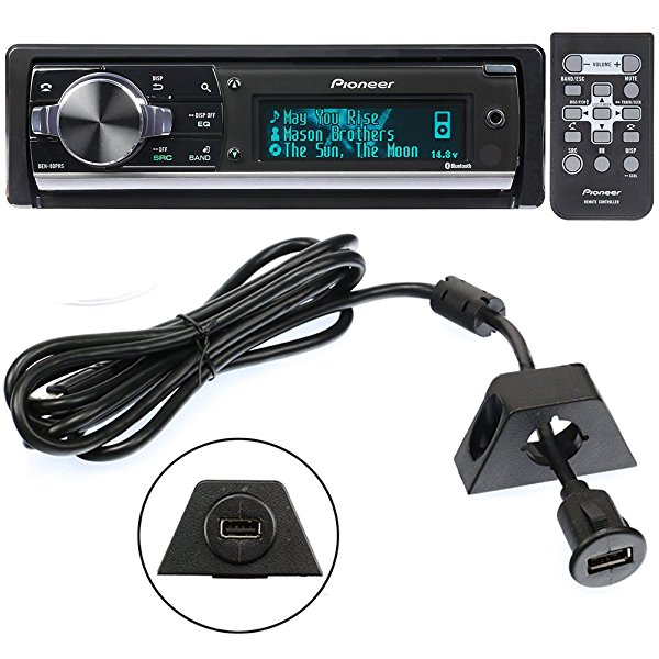 Pioneer DEH-80PRS In-Dash Audiophile CD/MP3/USB Car Stereo Receiver w/Bluetooth, 28bit DAC & iPod/Pandora Support + PAC USBCBL 6-Feet USB Cable with Mounting Bracket