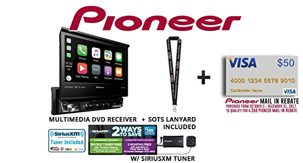 "Pioneer AVH-3300NEX 7"" Single Din DVD Receiver Apple CarPlay Built in Bluetooth with SiriusXM Satellite Radio Tuner SXV300v1 and a FREE SOTS Lanyard"
