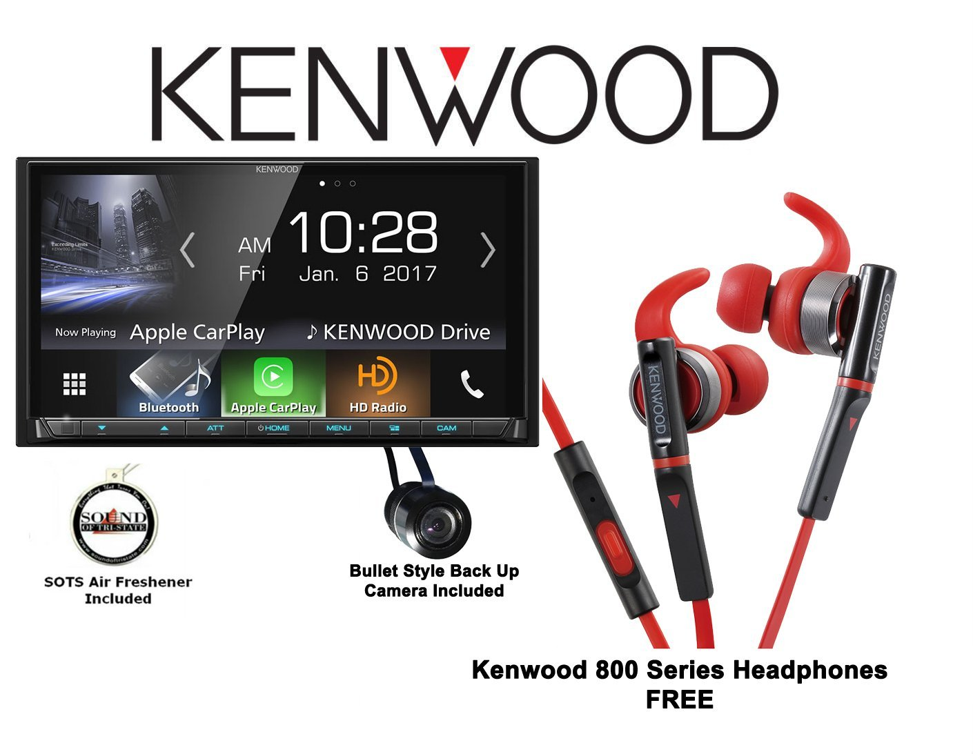 "Kenwood DMX7704S 6.95"" Digital Media Receiver with a Kenwood 800 Series In Ear Headphones and Back Up Camera with a FREE SOTS Air Freshener"