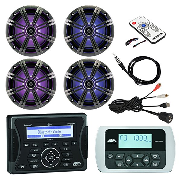 "Jensen Marine Audio Bluetooth AUX USB SiriusXM-Ready Receiver, Wired Remote, 4x 8"" Marine LED Coaxial Speakers w/Grilles, Braided Cable Antenna, Kicker LED Light Remote Controller, USB Mount"