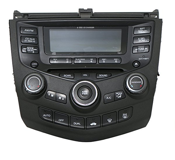 2004-2007 Honda Accord AM FM Radio 6 Disc CD Player w Climate Controls Face 7BK1