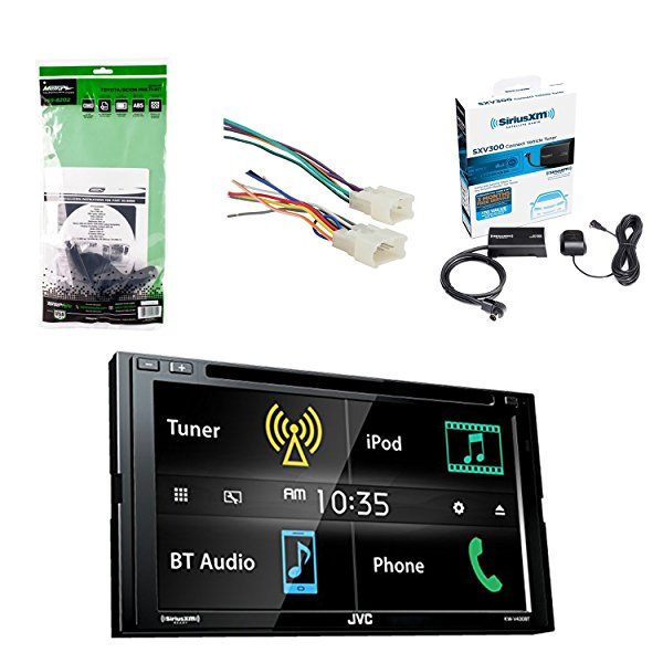JVC 6.8 Inch LCD Touchscreen 2-DIN Bluetooth Car Stereo Receiver W/SiriusXM Satellite Radio Vehicle Tuner Kit, Metra Toyota DDIN Multi Dash Kit & Radio Wiring Harness For Toyota 87-Up Power 4 Speaker.