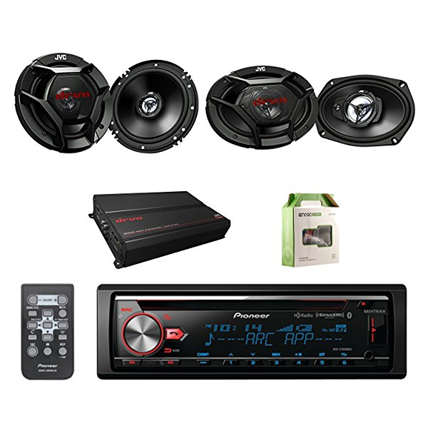 "Pioneer CD Bluetooth Receiver W/Enhanced Audio Functions with JVC 6.5"" Car Audio 2Way Speakers System Pair, JVC 6.9"" 3Way Speakers Pair, JVC Power Amplifier & Enrock Amplifier Wiring Installation Kit"