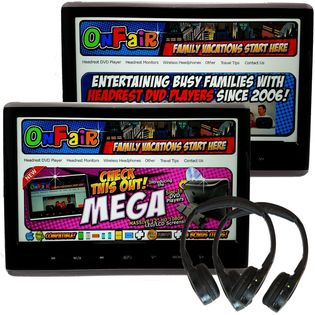 [Pair] Autotain MEGA 12 Inch Headrest Monitor DVD Player +HDMI +1080P +Home Power Supply +Cloud IR Headphones +BONUSES