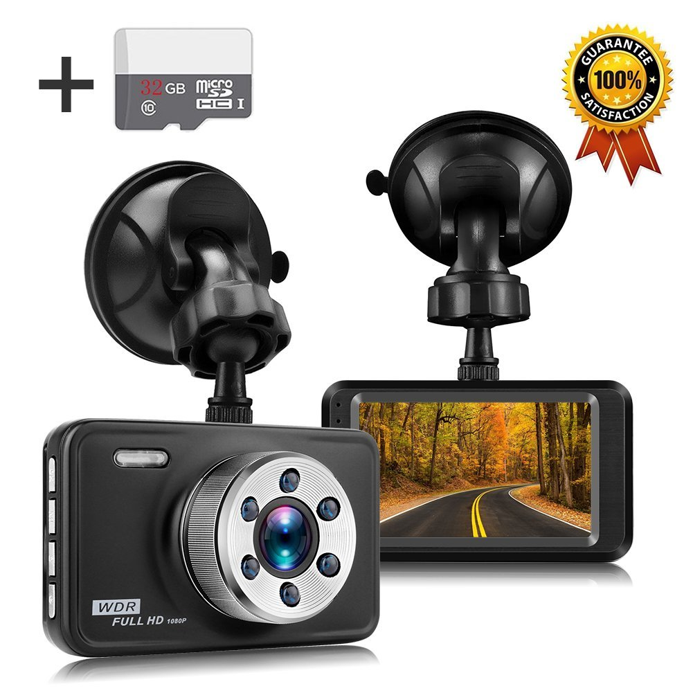 Senwow Car Dash Cam with 32GB Card, 1080P Full HD Dashboard Camera Recorder 3 LCD 140  Wide Angle On Dash Video Metal Shell Driving DVR with G-Sensor, Loop Recording, Night Vision, Parking Monitor