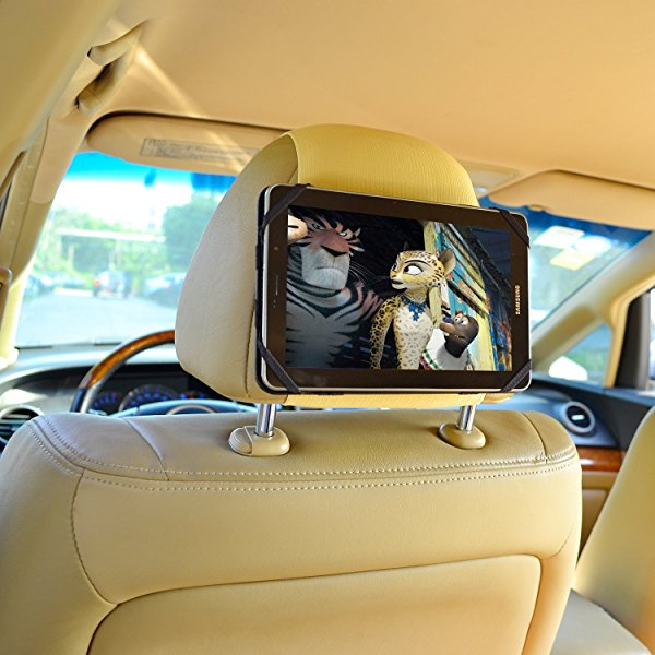 TFY 7-Inch Tablet PC Car Headrest Mount, Fast-Attach Fast-Release Edition, Beige