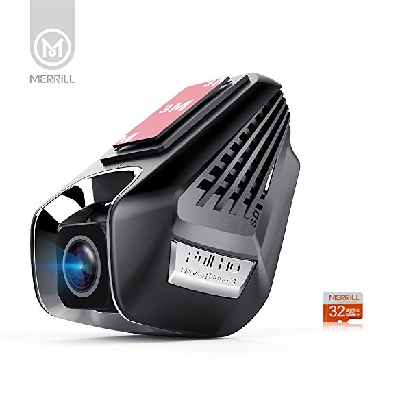 MERRiLL Dash Cam WiFi 170  Wide Angle FHD 1296p with Parking Mode, Loop Recording, Remote Control, G-sensor, ADAS, 32G SD Card