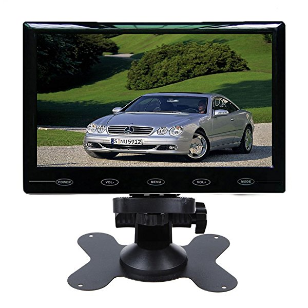 SallyBest 9'' Ultra Thin HD 800*480 TFT Color LCD Screen 2 Video Input Car Rear View Headrest Monitor DVD VCR Monitor with Remote Control and Touch Button
