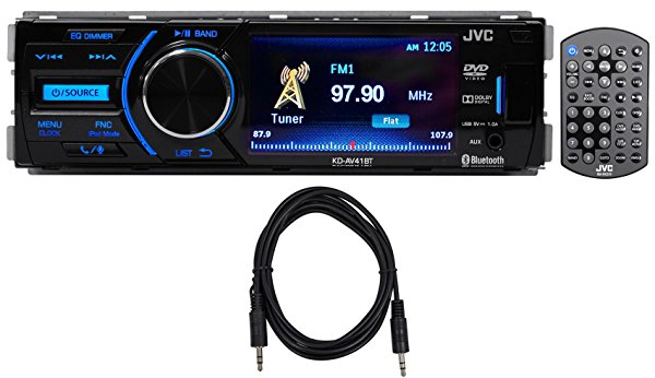 Package: JVC KD-AV41BT 3' Single-Din Car Receiver with Bluetooth, DVD, USB, Remote and IPhone Control + Trisonic 6 Foot 3.5' P-Text 24/48 Aux Input Wire
