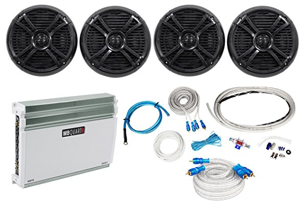 4) Rockville RMSTS80B 8' 2000w Marine Boat Speakers+MB Quart Amplifier+Amp Kit