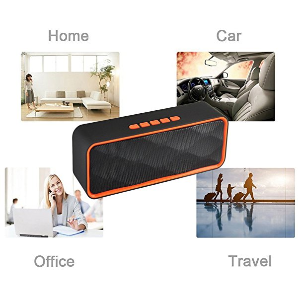 E-Achir Mini Bass Bluetooth speakers with Bass Music Soft feeling Support TF Hands free function for Teens Adults (Orange Color)