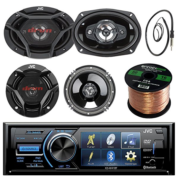 JVC KD-AV41BT 3' Car DVD Bluetooth Stereo Receiver Bundle Combo With 2x Dual 6.5' 2-Way And 2x 6x9' Inch 4-Way Audio Coaxial Upgrade Speakers + Enrock 22' AM/FM Antenna + 50 Foot 16 Guage Speaker Wire