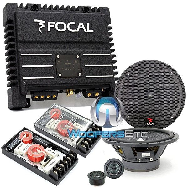 pkg 165A1 - Focal 6.5' 120 Watts 2-Way Component Speakers System + SOLID2 Black - FOCAL 2-Channel 200W RMS Power Amplifier