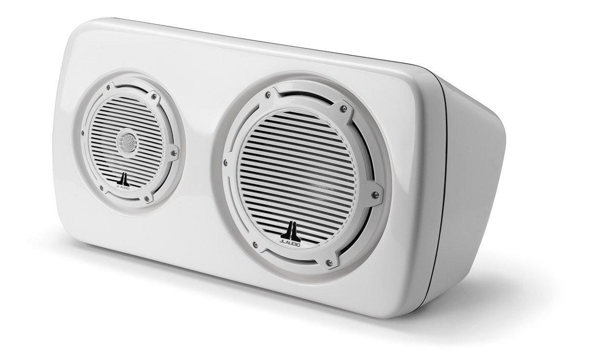 JL Audio M103EWS-CG-WH-L Left 3-Way Full-Ranged Enclosed Marine Audio Speaker System White Classic Grille (Left Side)