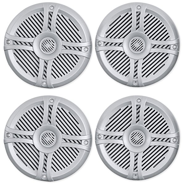 (2) Pairs of Rockville RMST65S 6.5' 2-Way Waterproof Marine Boat Speakers in Silver Totaling 1600 Watt