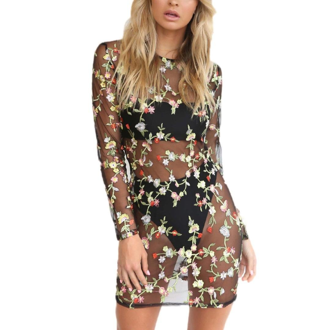 Women Dress,Haoricu Women Sexy Perspective Floral Embroidery Mesh Beach Cover Mini Dress (S, Black 1)