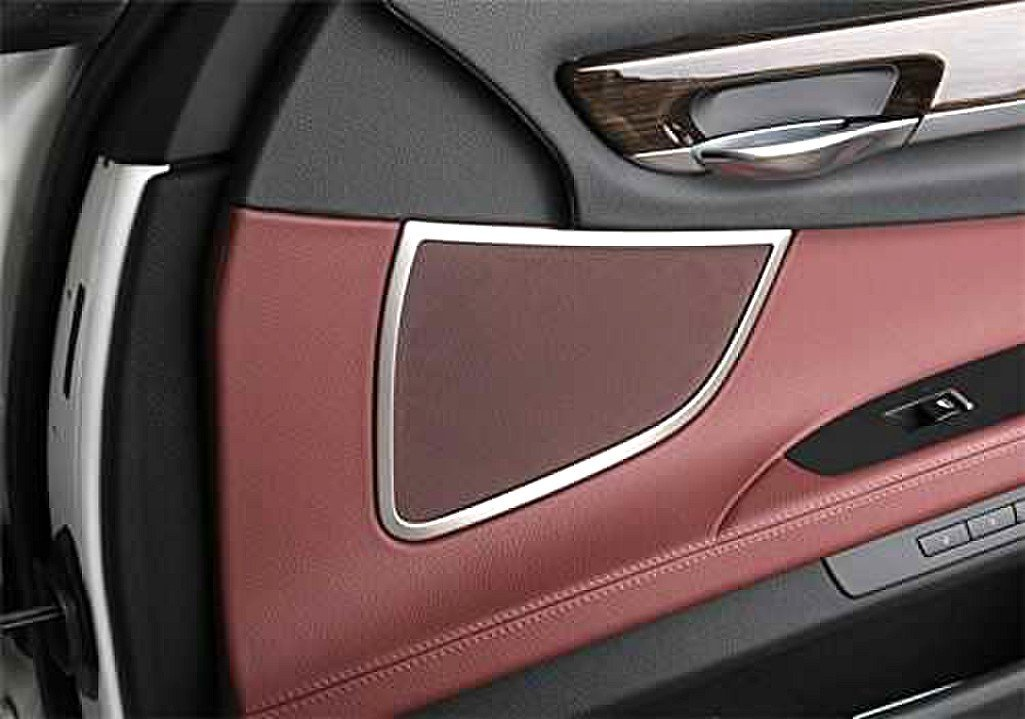 SHIPPING FROM USA Chrome Door Stereo Ring Cover Trim Audio Speaker Decoration Strip FOR BMW 7 SERIES (F01-03) 4pcs Front&Back