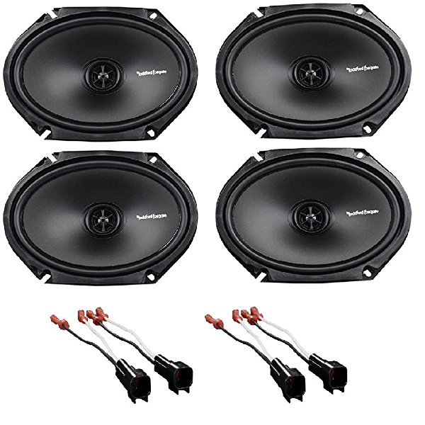 Rockford R168X2 Prime 6 x 8 Inches Full Range Coaxial Speaker, 2 Pairs w/ Metra 72-5600 Ford Speaker Harness 1998-UP