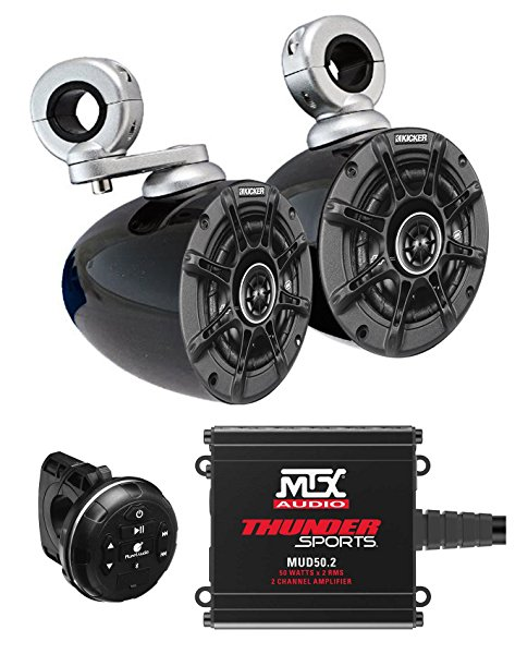 2 Kicker 4' Marine Tower Speakers+2-Ch Amplifier+Bluetooth Control 4 ATV/UTVCART