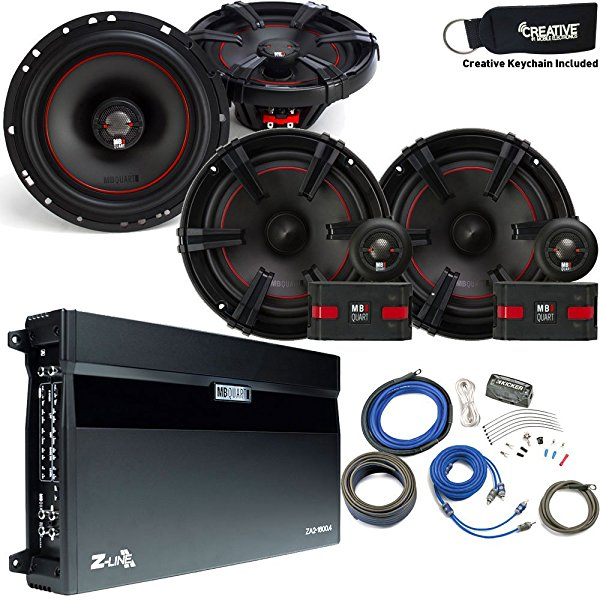 MB Quart Speaker package - ZA2-1600.4 Amp, a Pair of XC1-216 6.5' Components, a pair of XK1-116 6.5' Coaxials & Wire Kit