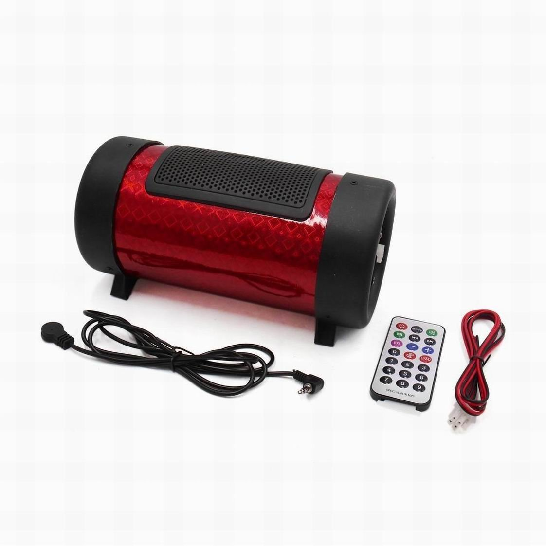 Fuxell DC 12V Red 4 Inches Dia Cylinder Shaped Bass Subwoofer Tube for Motorcycle