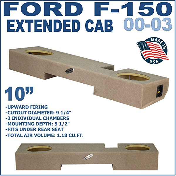 FORD F150 SUB BOX EXTENDED DUAL 10' SEALED SUB WOOFER ENCLOSURE GROUND-SHAKER