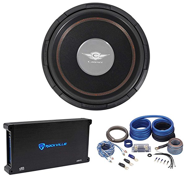 Cadence S3W15D4 15 3000w DVC 4-Ohm Competition Subwoofer+Mono Amplifier+Amp Kit