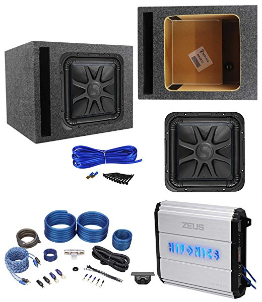 Kicker L7S122 12' 1500w Solobaric L7S Subwoofer+Hifonics Amp+Vented Box+Wires
