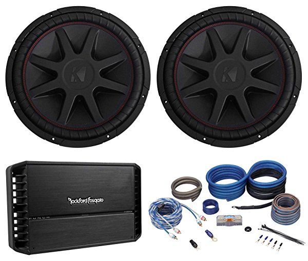 (2) Kicker 43CVR152 COMPVR 15' 2000w Subwoofers+Rockford Fosgate Amplifier+Wires