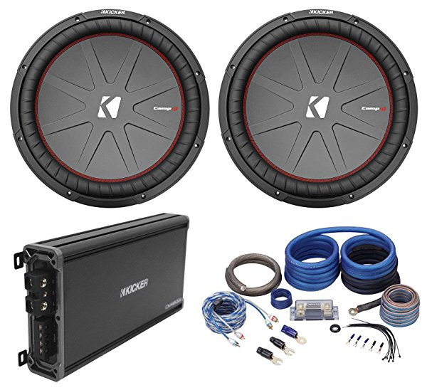 (2) Kicker 43CWR152 COMPR15 15' 3200 Watt Car Subwoofers+Mono Amplifier+Amp Kit