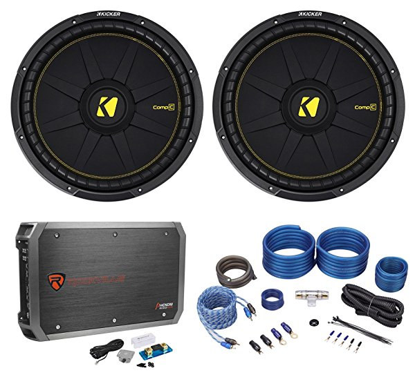 (2) Kicker 44CWCD154 CompC 15' 2400w Car Subwoofers Subs+Mono Amplifier+Amp Kit
