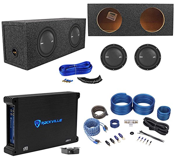 2) Polk Audio MM1042SVC 10 2400w Subwoofers+Sealed Sub Box+Mono Amplifier+Wires