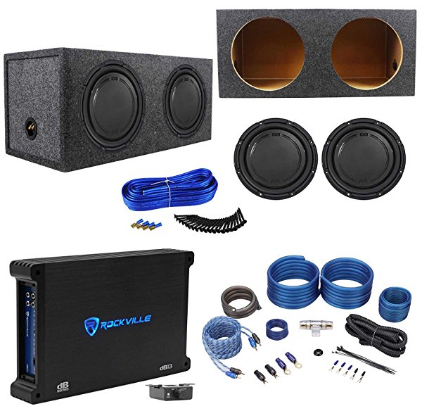 (2) Polk Audio DB1242SVC 12 2220w Subwoofers+Sealed Box+Mono Amplifier+Amp Kit