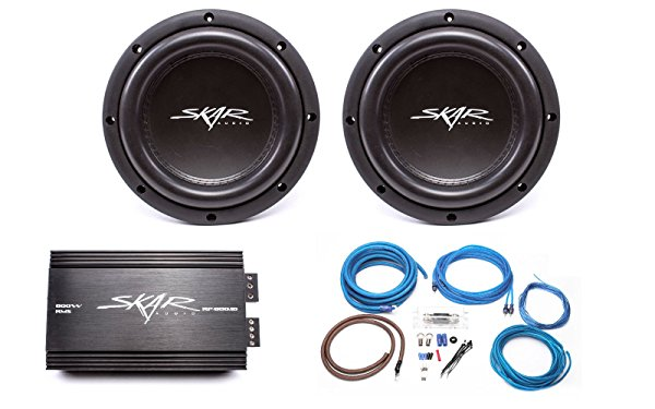 Skar Audio 2x VVX-8v3 D4 800 Watt Subwoofers with RP-800.1D Monoblock Sub Amplifier and 4 Gauge Amp Kit