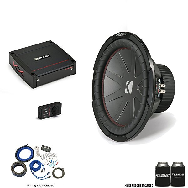 Kicker 43CWR124 12 CompR Subwoofer with 44KXA4001 KX-Series Amplifier and wire kit