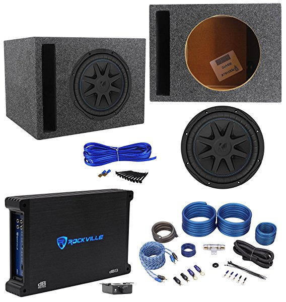 Kicker 44CVX104 CVX 10' Subwoofer+Vented Sub Box Enclosure+Mono Amplifier+Wires