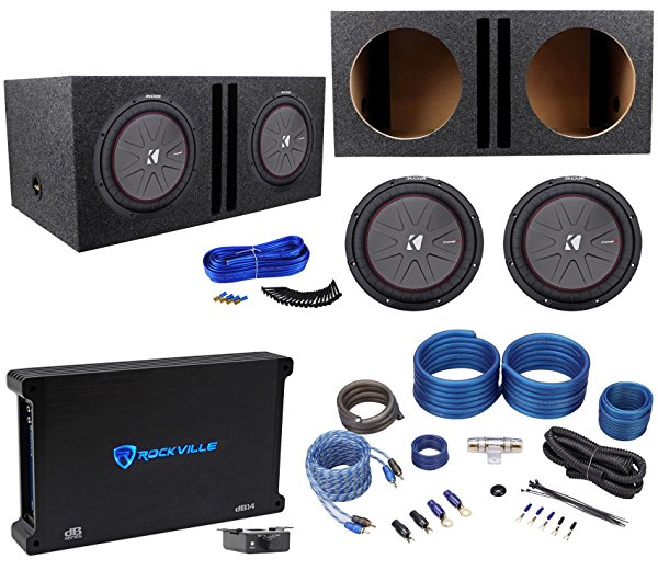 2 Kicker 43CWR122 COMPR12 2000W 12' Subwoofers+Vented Box+Mono Amplifier+Amp Kit