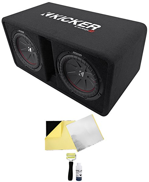 Kicker 43DCWR102 COMPR10 Dual 10' 1600W Car Subwoofers In Vented Sub Box+Rockmat