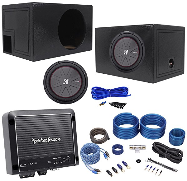Kicker 43CWR124 12' 1000w Car Subwoofer+Vented Sub Box+Mono Amplifier+Amp Kit